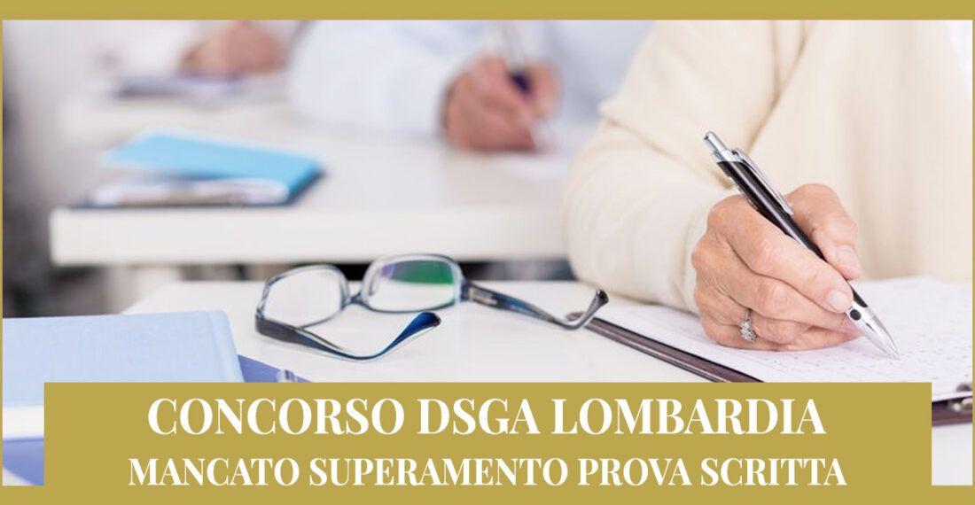 Concorso DSGA Lombardia – Mancato superamento prova scritta