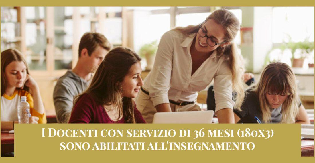 36 mesi di servizio (180×3) abilitati all'insegnamento – Ricorso Graduatorie provinciali di Prima fascia (GPS)