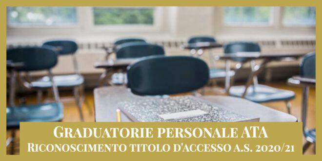 Graduatorie personale ATA – Titolo d'accesso a.s. 2020/21